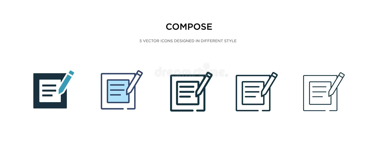 Compose icon in different style vector illustration. two colored and black compose vector icons designed in filled, outline, line. And stroke style can be used vector illustration