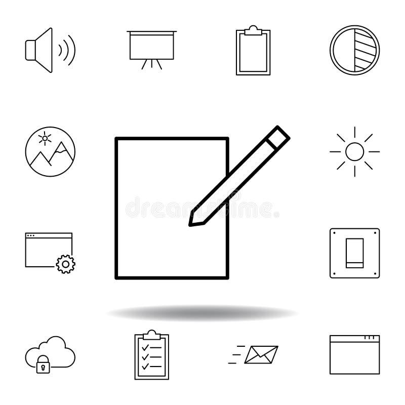 Compose redigerar f?r att skriva ?versiktssymbolen Detaljerad uppsättning av symboler för unigridmultimediaillustrationer Kan anv royaltyfri illustrationer