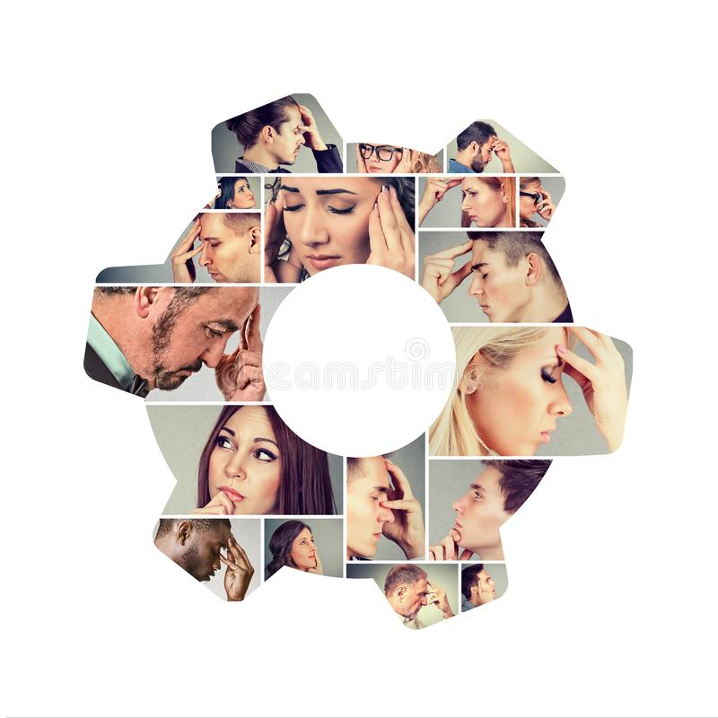 Group of thinking people in collage. Composed photo of serious people looking pensive in collage shaped as gear stock images