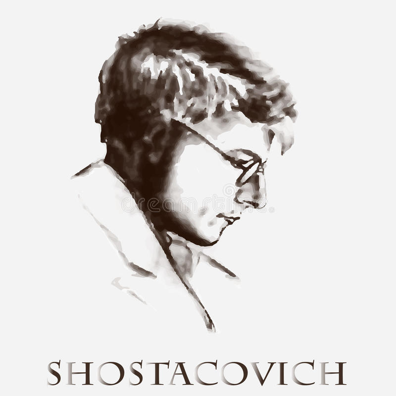 Composer Dmitri Shostakovich. vector portrait stock image