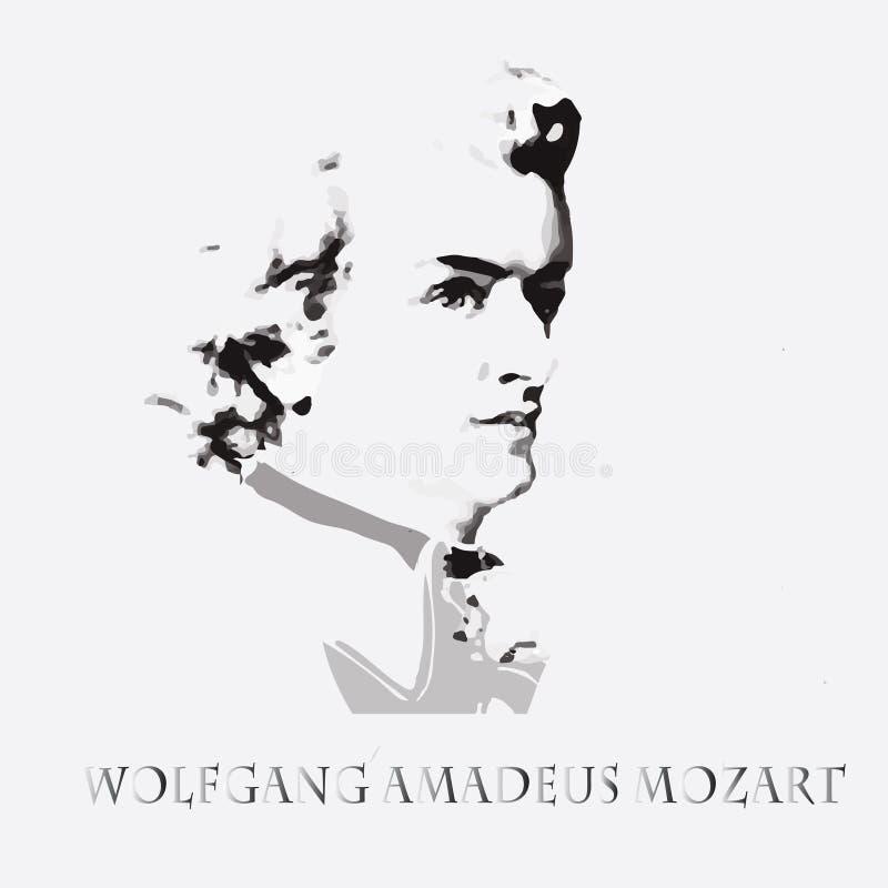 Composer Wolfgang Amadeus Mozart. vector portrait royalty free illustration