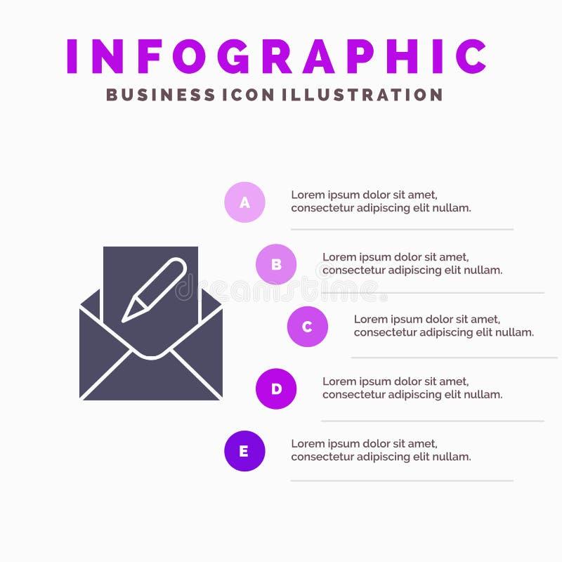 Composez, éditez, envoyez, enveloppe, fond solide de présentation d'étapes d'Infographics 5 d'icône de courrier illustration de vecteur