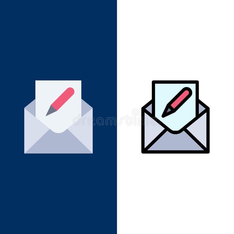 Composez, éditez, envoyez, enveloppe, icônes de courrier L'appartement et la ligne icône remplie ont placé le fond bleu de vecteu illustration de vecteur