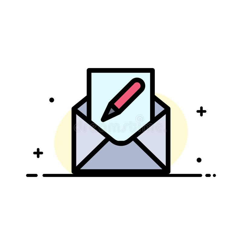Composez, éditez, envoyez, enveloppe, ligne plate calibre rempli d'affaires de courrier de bannière de vecteur d'icône illustration de vecteur