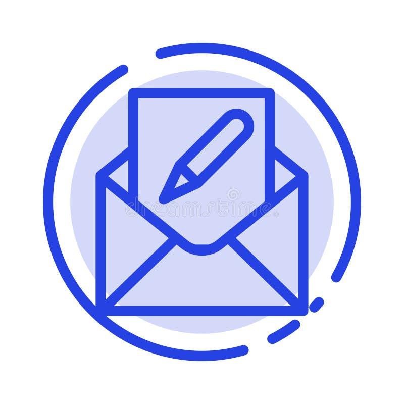 Composez, éditez, envoyez, enveloppe, ligne pointillée bleue ligne icône de courrier illustration de vecteur