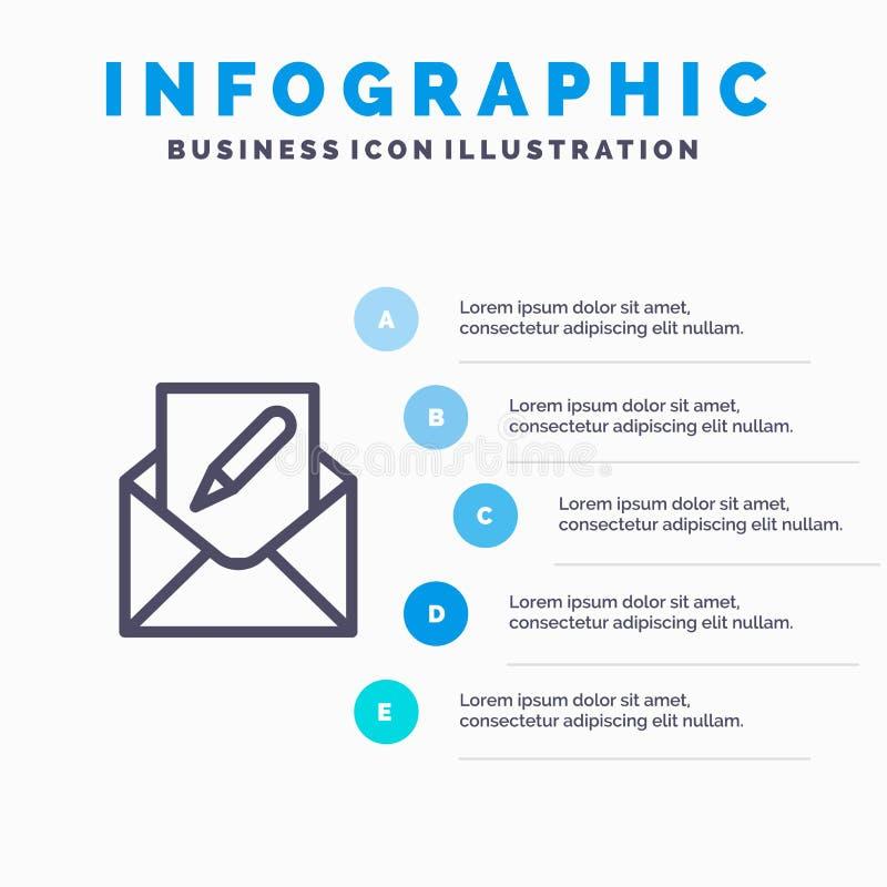 Composez, éditez, envoyez, l'enveloppe, ligne icône de courrier avec le fond d'infographics de présentation de 5 étapes illustration de vecteur