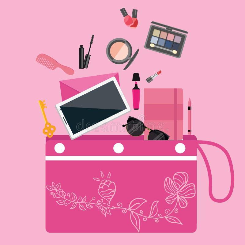Composez la collection d'outils de cosmétiques à l'intérieur de la couleur de rose de poche de bourse de sac de filles illustration de vecteur