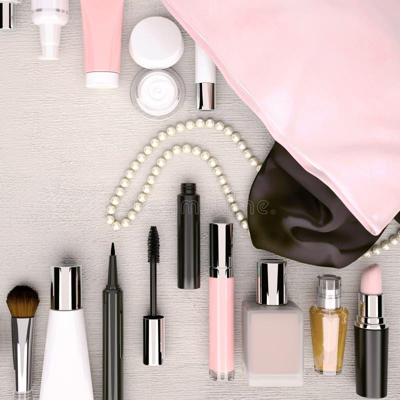 Composez le sac avec des cosmétiques situés sur le backgroun en bois blanc image stock