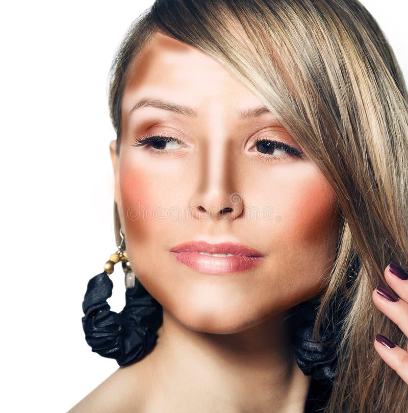 Composez le visage de femme Maquillage de découpe et de point culminant photographie stock libre de droits