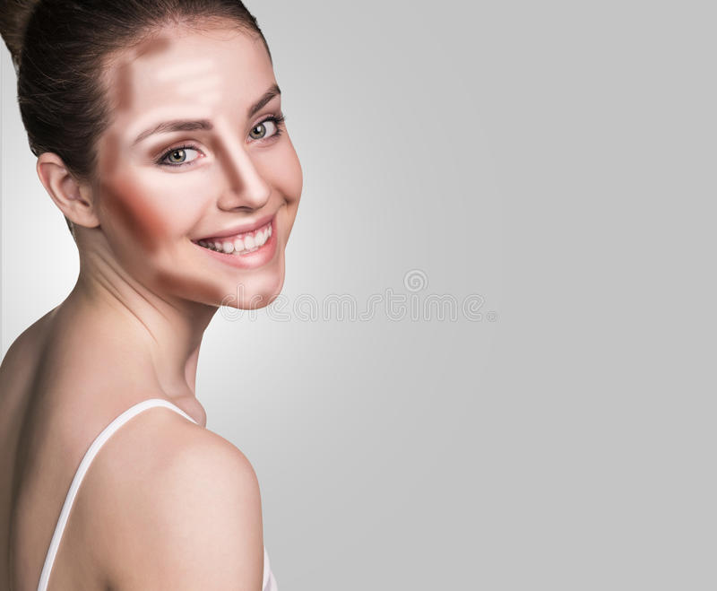 Composez le visage de femme Maquillage de découpe et de point culminant image libre de droits