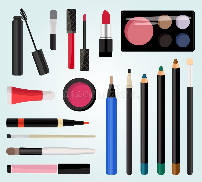 Composez les cosmétiques Illustration de vecteur Style plat illustration stock