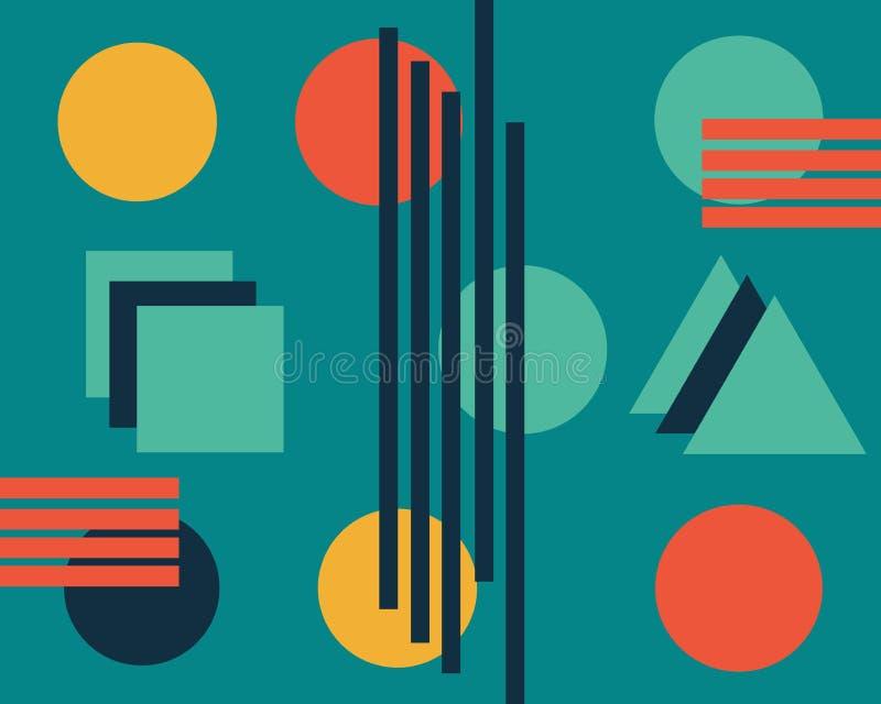Composição abstrata brilhante de figuras geométricas coloridas ilustração do vetor