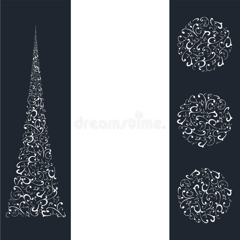 Composição abstrata de elementos brancos diferentes em escuro - fundo azul ilustração stock