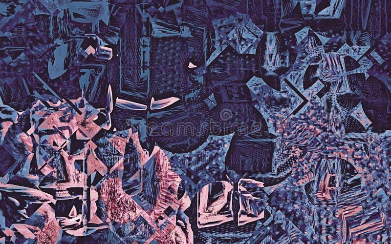 Composição abstrata de formas geométricas no rosa e no azul ilustração do vetor
