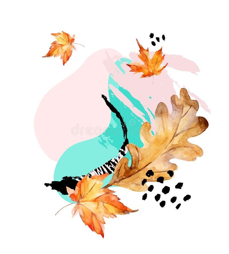Composição abstrata do carvalho do outono, folhas de bordo, formas fluidas, elemento mínimo do grunge, garatuja ilustração royalty free