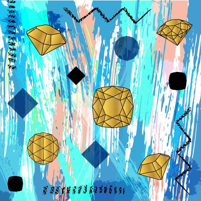 A composição abstrata do fundo, com cursos, espirra e geom ilustração royalty free