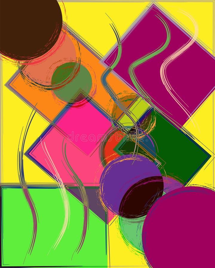 Composição abstrata do fundo com quadrados e círculos ilustração stock
