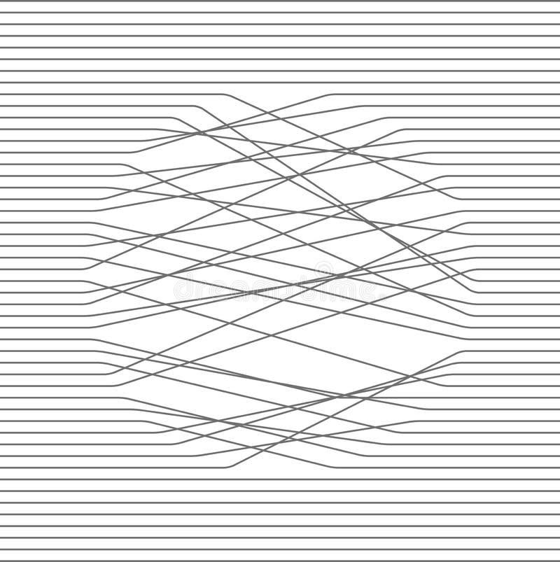 Composição abstrata Ilustração preto e branco As linhas paralelas cruzam-se em um círculo Textura do projeto do vetor ilustração do vetor