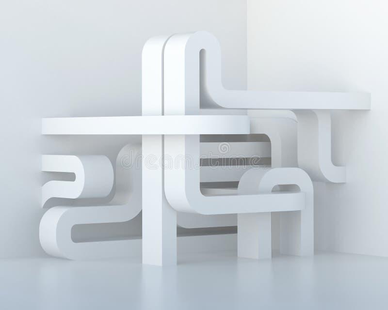 Composição arquitetónica tridimensional branca abstrata ilustração royalty free