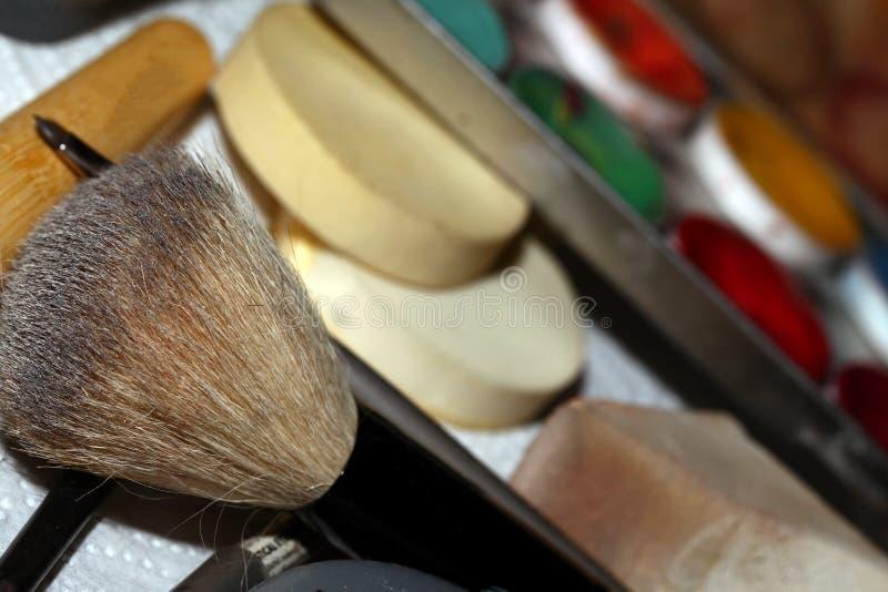 Composição Art Cosmetics Paint Brush Tools fotos de stock