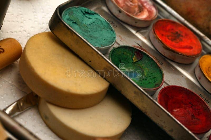 Composição Art Cosmetics Paint Brush Tools fotografia de stock royalty free
