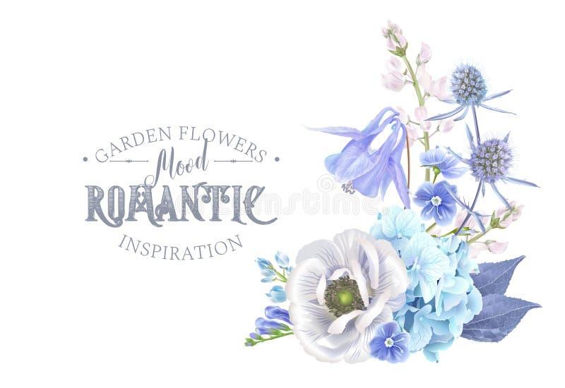 Composição azul da flor ilustração royalty free