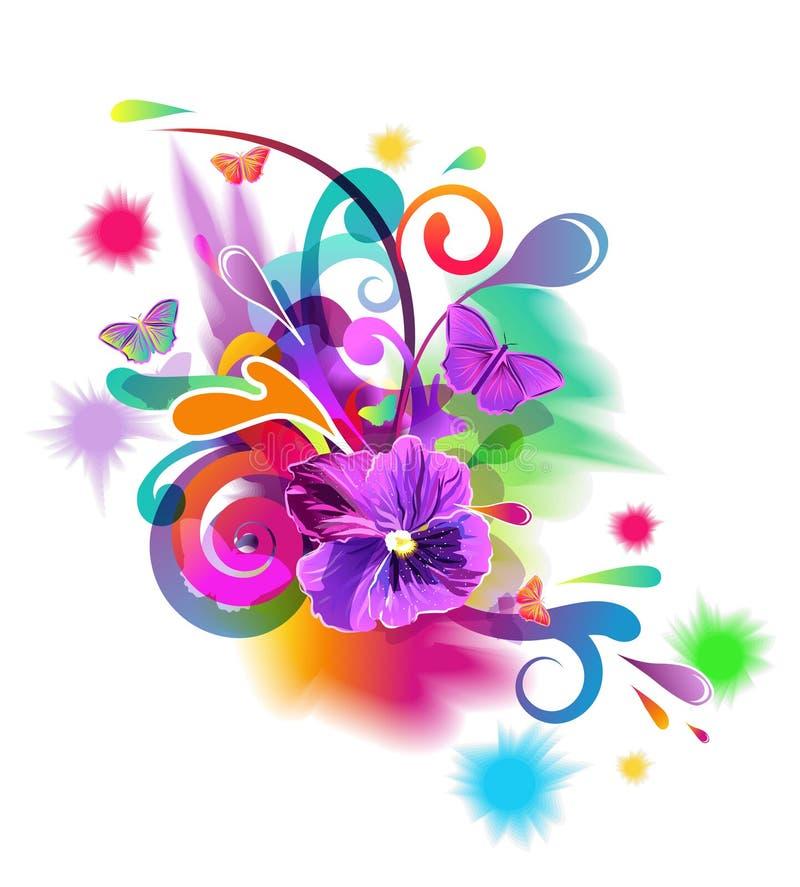 Composição brilhante com flores ilustração do vetor