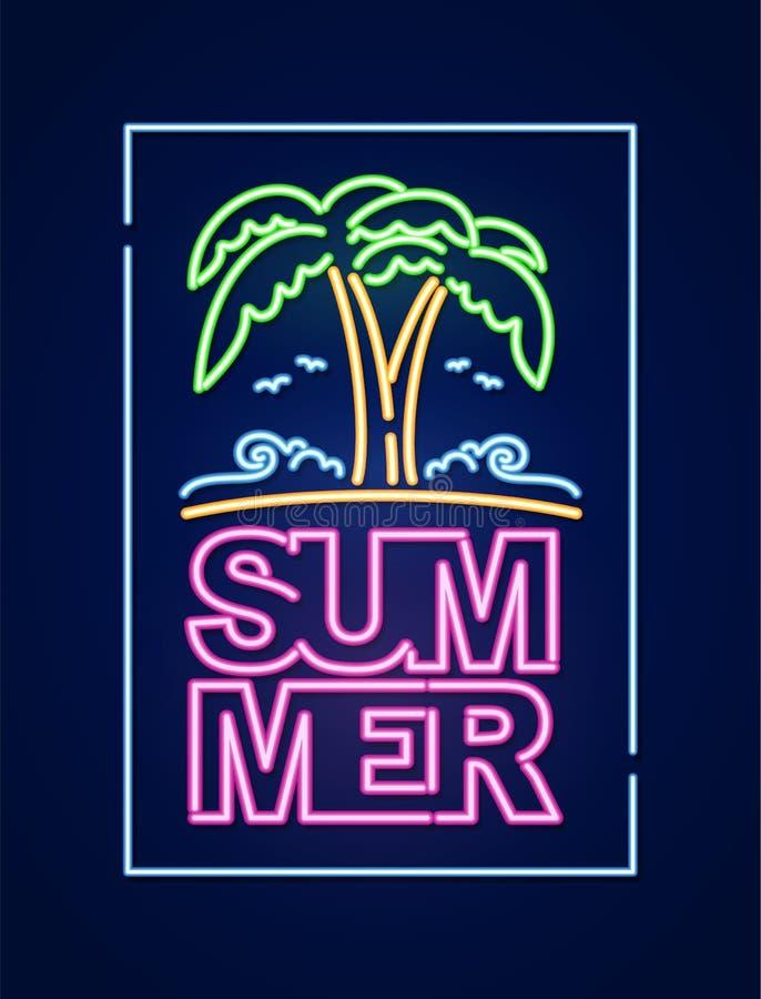 Composição clara de néon do texto 3d do verão com palmeira e praia Projeto do cartaz da vida noturno ilustração royalty free
