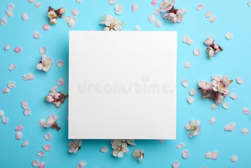 Composição colocada lisa com as flores frescas da mola e cartão vazio no fundo da cor imagens de stock royalty free