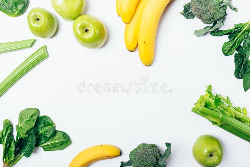 Composição colocada lisa do quadro de comer saudável foto de stock royalty free