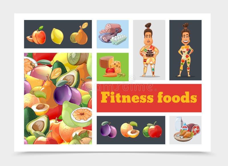 Composição colorida da dieta dos desenhos animados ilustração stock