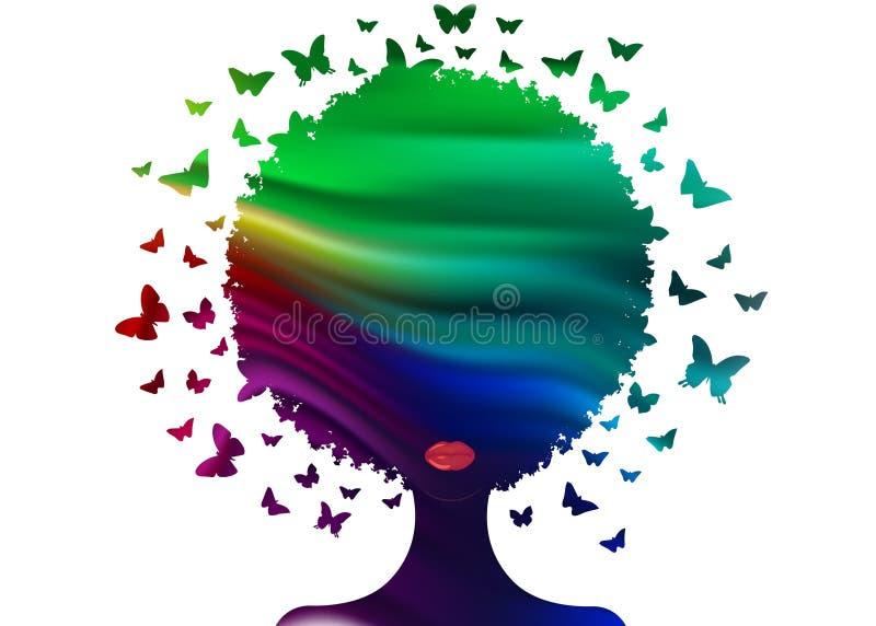 Composição colorida decorativa das borboletas com a mulher do retrato da silhueta Conceito do centro da beleza, sal?o de beleza d ilustração royalty free