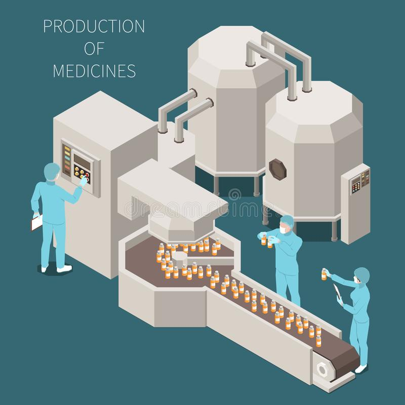Composição colorida isométrica da produção farmacêutica ilustração do vetor