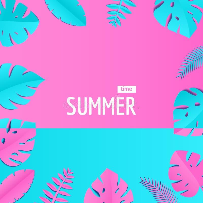 A composição com as folhas azuis cor-de-rosa criativas da selva no papel cortou o estilo Quadro tropical da folha, molde para o c ilustração stock