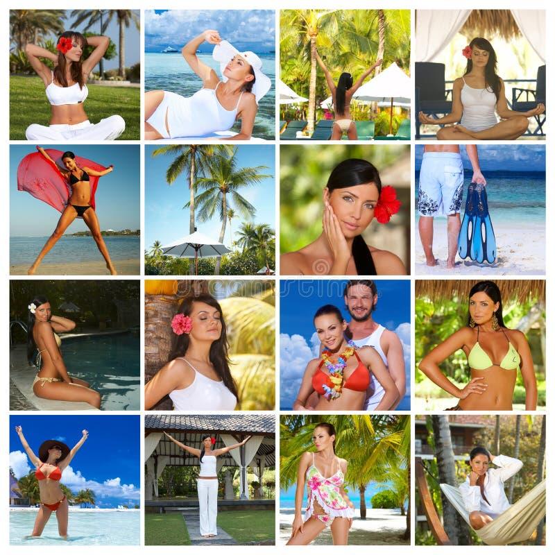 Composição com as fotos de povos da beleza imagens de stock royalty free