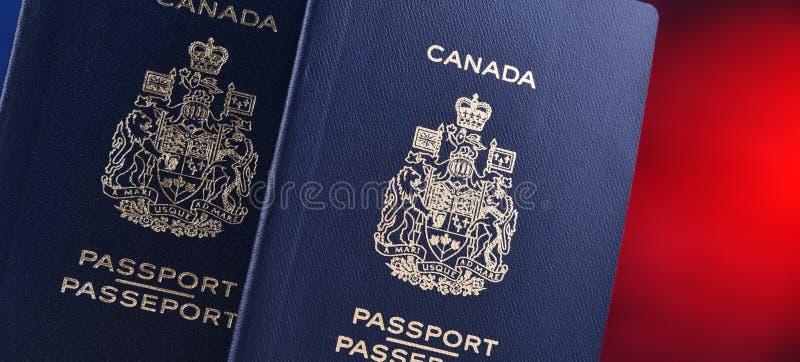 Composição com os dois passaportes canadenses fotos de stock royalty free