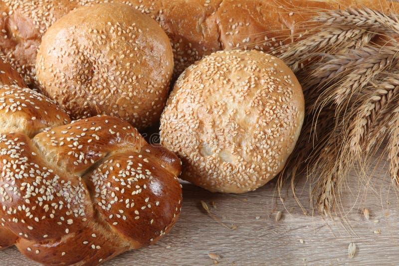 Composição com os nacos de pão e de rolos fotos de stock royalty free