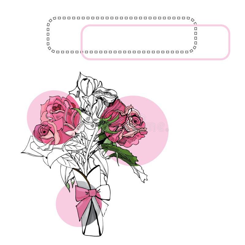 Composição com rosa de florescência das rosas, dos círculos e do quadro Tinta tirada mão e esboço colorido de flores cor-de-rosa ilustração do vetor