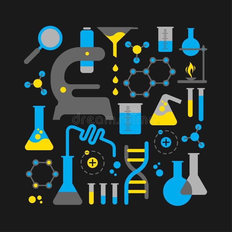 Composição com símbolos da ciência ilustração stock