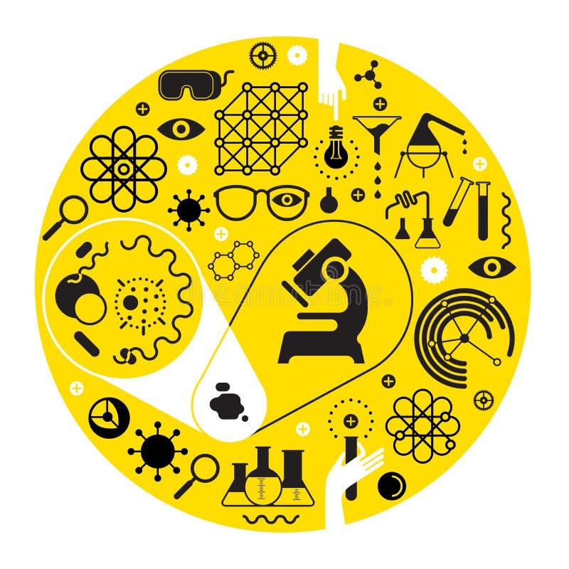 Composição com símbolos da ciência ilustração royalty free