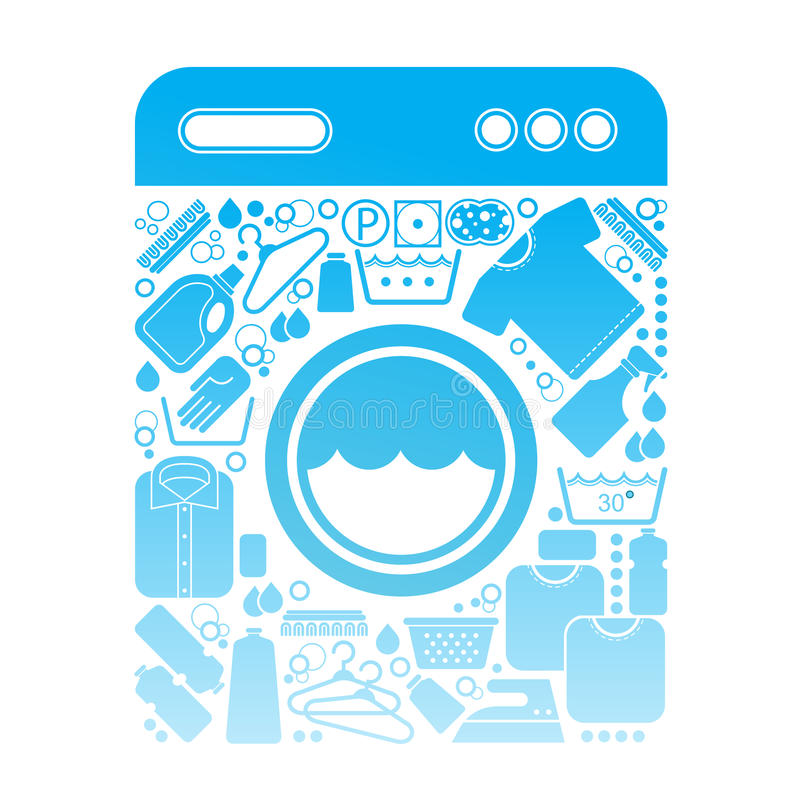 Composição com símbolos da lavanderia ilustração do vetor