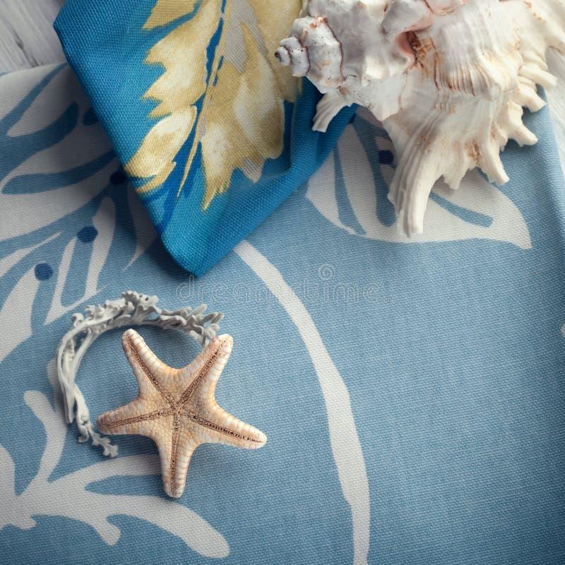 A composição com shell do mar e uma estrela do mar ajustou-se em toalhas do algodão foto de stock