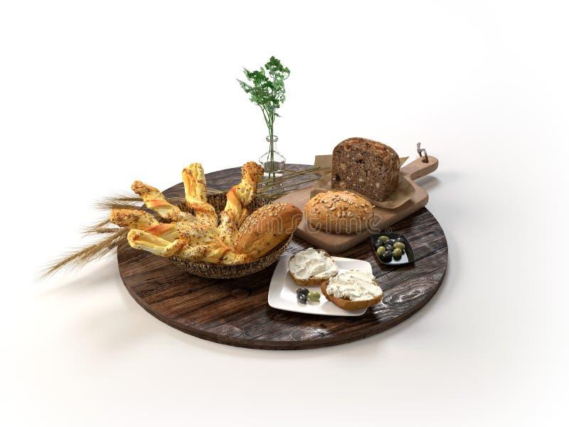 Composição com tipo diferente do pão e dos rolos isolados no branco ilustração 3D ilustração stock