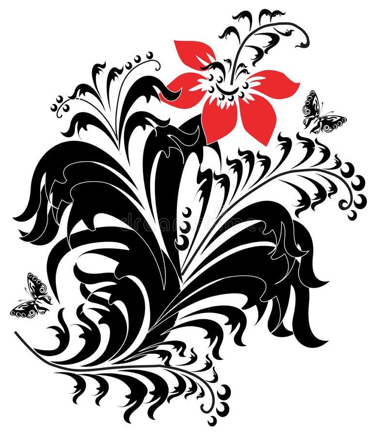 Composição com uma flor ilustração royalty free
