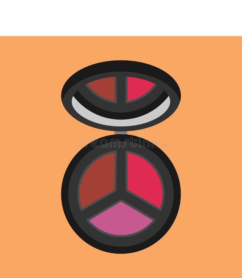 Composição cosmética do ícone do vetor da cara da beleza da opinião superior do pó Espelho compacto do ruge da mulher Produto do  ilustração stock