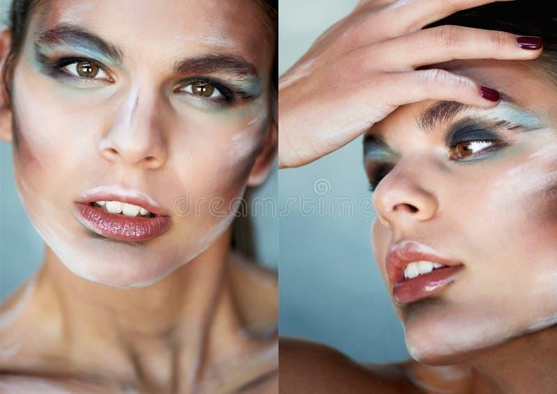 Composição criativa, manchas da pintura na cara A menina toca em sua cara com seus dedos Dedos longos bonitos collage fotos de stock