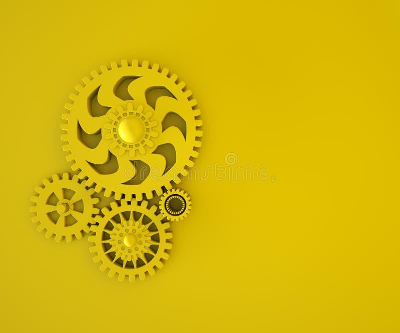 composição 3d das engrenagens plásticas amarelas no fundo amarelo monocrom?tico Lugar para o texto Conceito mínimo 3d para render foto de stock