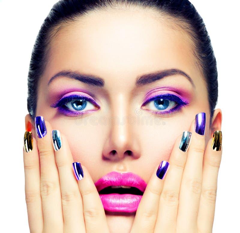 Composição e Manicure da beleza fotografia de stock