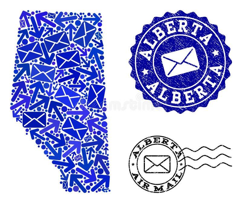 Composição da entrega de correio do mapa de mosaico de selos de Alberta Province e do Grunge ilustração do vetor