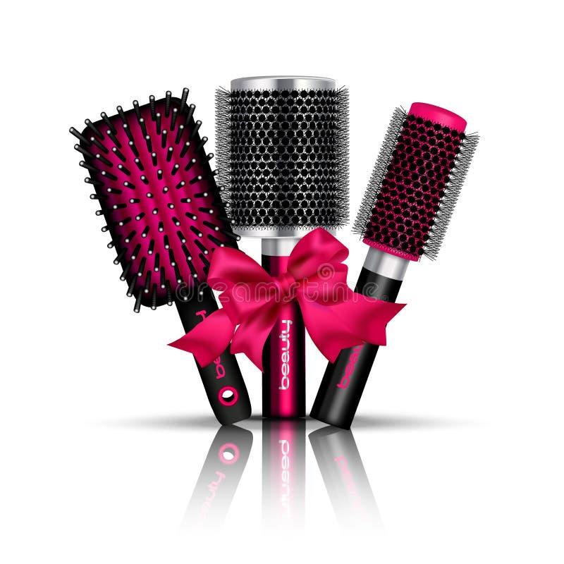 Composição da escova de cabelo ilustração stock